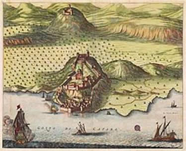 Замок Нови на гравюре около 1700 года